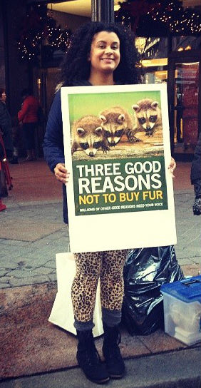 Brandie protesting fur with MARC in Downtown Crossing, Boston.